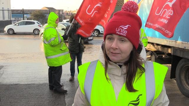 Unite the Union official Susan Fitzgerald at Allied Bakeries in east Belfast