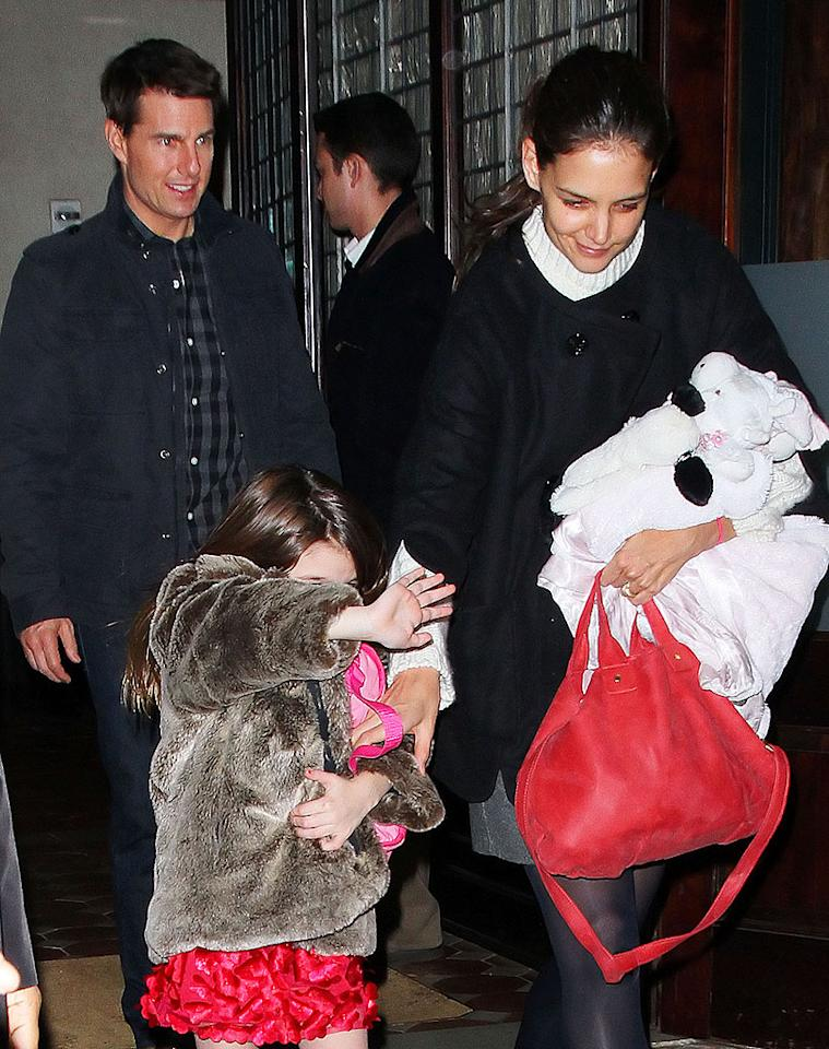 Tom Cruise, Katie Holmes and Suri Cruise head out of their hotel in NYC. Pictured: Tom Cruise, Katie Holmes and Suri Cruise Ref: SPL344755 201211 Picture by: Jackson Lee / Splash News Splash News and Pictures Los Angeles: 310-821-2666 New York: 212-619-2666 London: 870-934-2666 photodesk@splashnews.com