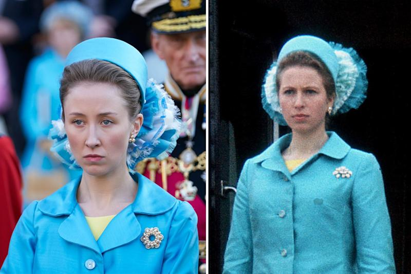 The Crown's Princess Anne played by Erin Doherty vs. the royal in real life (Netflix/Getty Images)