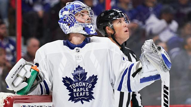 Jack Campbell did all he could to keep the Leafs in this one. (Jana Chytilova/Freestyle Photography/Getty Images)