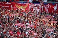 Liverpool fans show their support prior to the UEFA Champions League final (Photo by Jan Kruger - UEFA/UEFA via Getty Images)