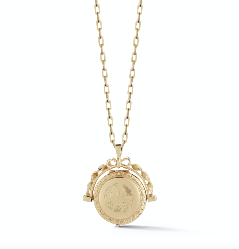 "<p><strong>Garland Collection</strong></p><p>garlandcollection.com</p><p><strong>$14.00</strong></p><p><a href=""https://www.garlandcollection.com/vintage-jewelry/charms-16/estate-spinning-locket"" rel=""nofollow noopener"" target=""_blank"" data-ylk=""slk:Shop Now"" class=""link rapid-noclick-resp"">Shop Now</a></p><p>Treasure this moment with a one-of-a-kind vintage gold locket to hold near and dear a picture or memento of your little one. </p>"
