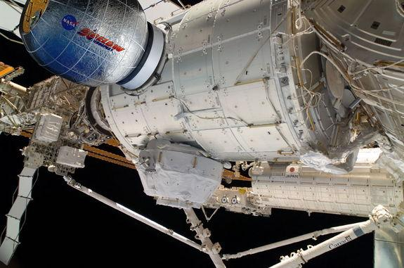 New addition to the International Space Station, the Bigelow Expandable Activity Module (BEAM) attached to Node 3 of the orbital complex.