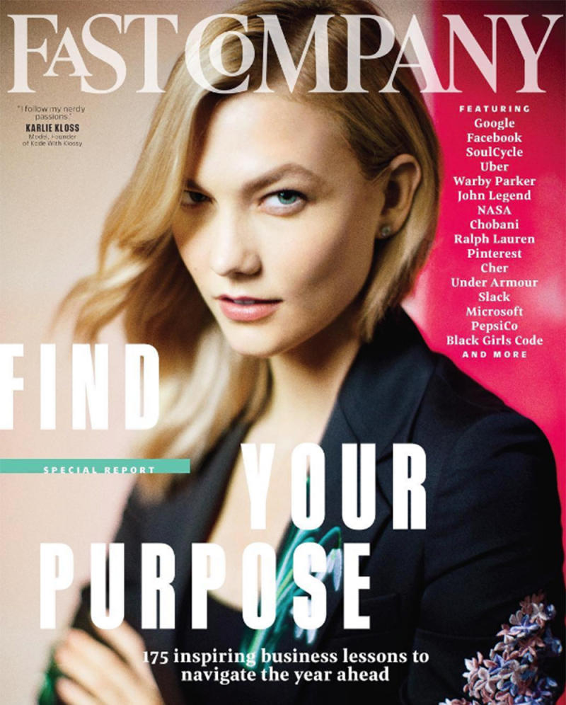 Kloss discusses her interest in technology in the February issue of Fast Company. (Photo: Fast Company Magazine)