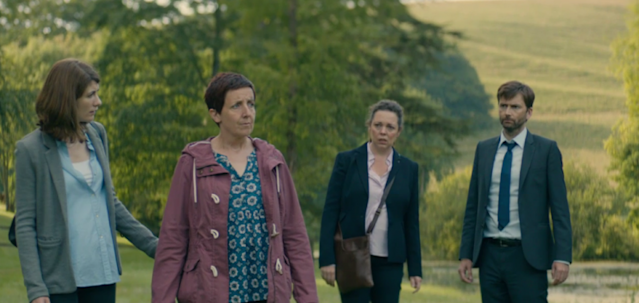 "Jodie Whittaker, Julie Hesmondhalgh, Olivia Colman, and David Tennant in ""Broadchurch."" (Credit: BBC America)"