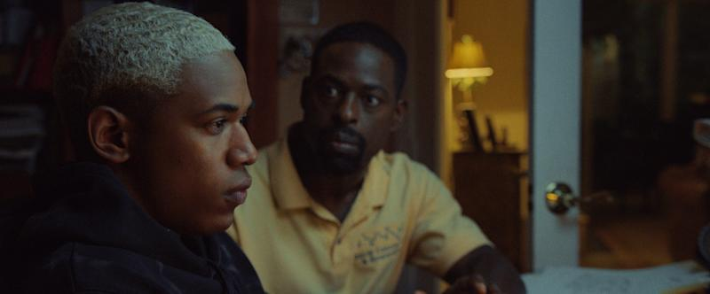 After an injury threatens his college athletic career, spiraling teen Tyler (Kelvin Harrison Jr., left) gets hard advice from exacting dad Ronald (Sterling K. Brown).