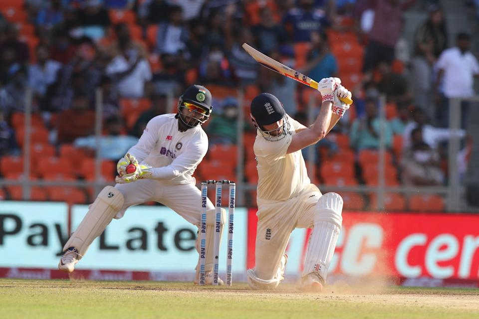 Rishabh Pant takes the catch to dismiss Dom SibleyBCCI