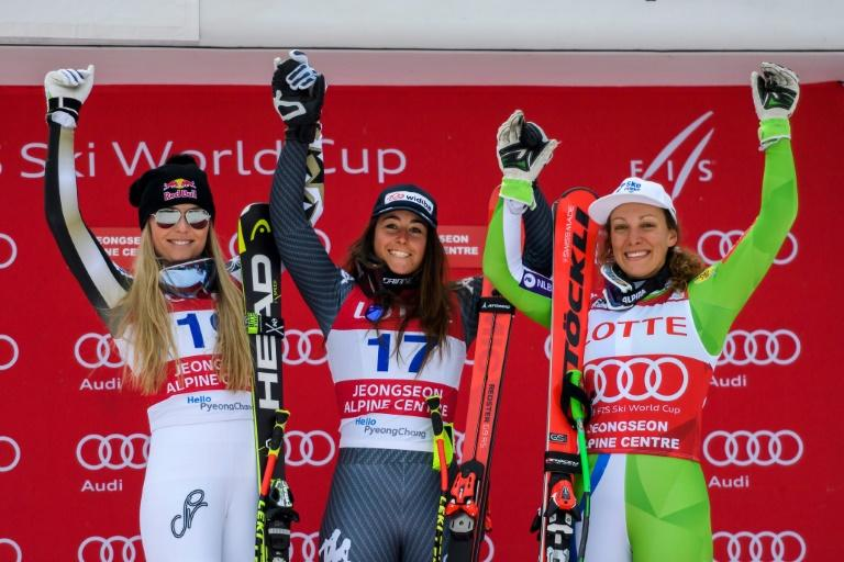 (From L) Lindsey Vonn, Sofia Goggia and Ilka Stuhec share the World Cup skiing podium at Pyeongchang two days running