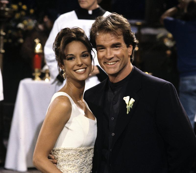 """ALL MY CHILDREN - Maria and Edmund's wedding - 3/20/95 Maria (Eva LaRue) and Edmund (John Callahan) were married for a second time, airing the week of March 20, 1995 on Walt Disney Television via Getty Images Daytime's """"All My Children"""". """"All My Children"""" airs Monday-Friday, 1-2 p.m., ET, on the Walt Disney Television via Getty Images Television Network. AMC95"""