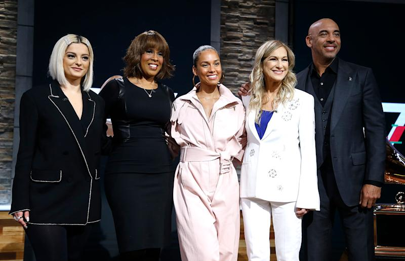 Bebe Rexha, Gayle King, Alicia Keys, Recording Academy president and CEO Deborah Dugan and Chair of the Board of Trustees of the Recording Academy Harvey Mason Jr. attend the 62nd Grammy Awards Nominations at CBS Broadcast Center on November 20, 2019 in New York City.