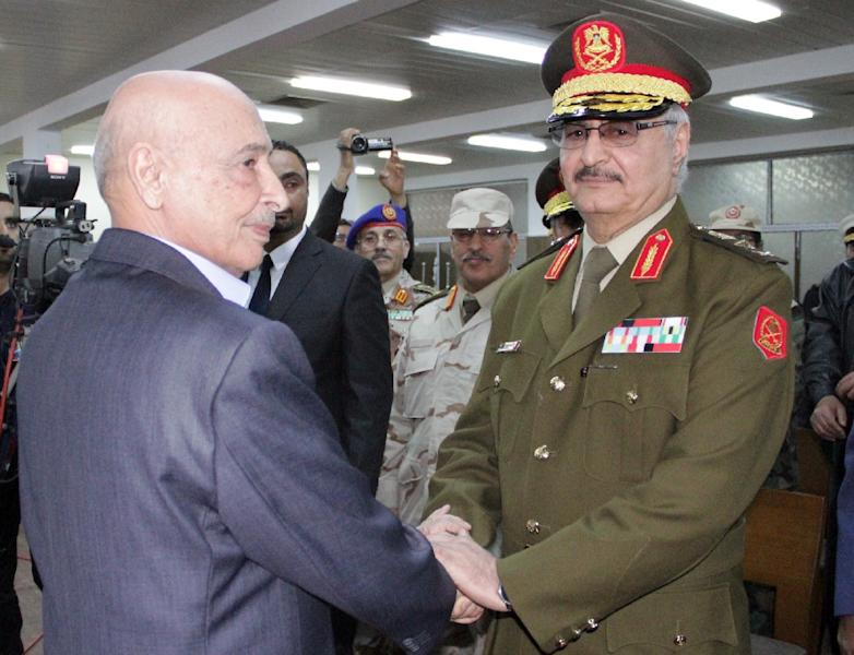 Anti-Islamist General Khalifa Haftar (R) at his swearing in ceremony as the new army chief in conflict-ridden Libya on March 9, 2015, in the eastern city of Tobruk (AFP Photo/)