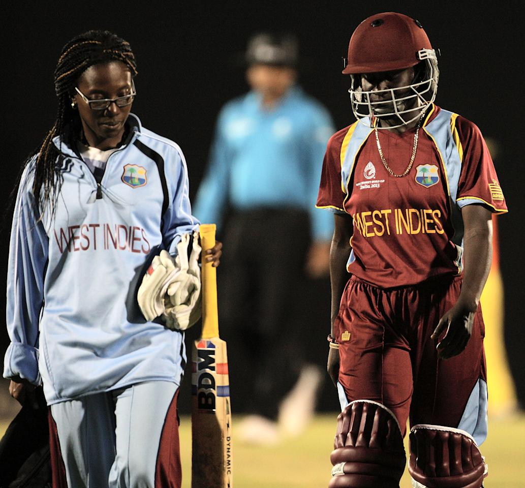 MUMBAI, INDIA - FEBRUARY 17: Kyshona A Knight of West Indies leaves the field retired hurt during the final between Australia and West Indies of the Women's World Cup India 2013 played at the Cricket Club of India ground on February 17, 2013 in Mumbai, India. (Photo by Graham Crouch/ICC via Getty Images)