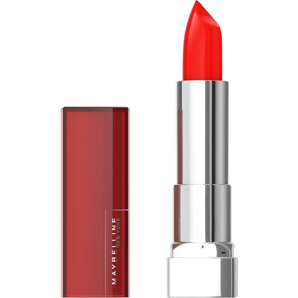 """<p>Maybelline New York's Color Sensational Cremes Lipstick in Coral rise is an orange-red that looks fabulous on medium skin tones. Eldridge loves this bold, bright hue. """"[It's] perfect for anyone who wants to make a serious red lip statement,"""" she says.</p> <p><strong>$6</strong> (<span>Shop Now</span>)</p>"""