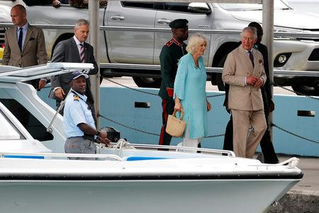 Britain's Prince Charles and Camilla, Duchess of Cornwall arrive at Nevis during their visit to St Kitts and Nevis, March 21, 2019. REUTERS/Phil Noble