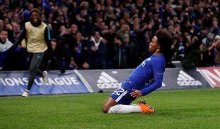Soccer Football - Champions League Round of 16 First Leg - Chelsea vs FC Barcelona - Stamford Bridge, London, Britain - February 20, 2018 Chelsea's Willian celebrates scoring their first goal Action Images via Reuters/Matthew Childs
