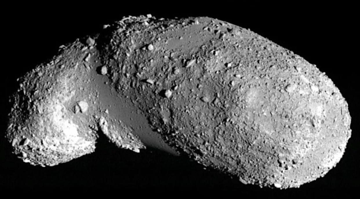 The near-Earth asteroid Itokawa. The boulder-free, smooth areas are filled with small, uniformly-sized particles.