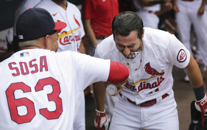 St. Louis Cardinals' Paul DeJong (11) gets a face full of water from Edmundo Sosa (63) as they celebrate DeJong's solo home run in the third inning of a baseball game against the San Francisco Giants, Sunday, July 18, 2021, in St. Louis. (AP Photo/Tom Gannam)