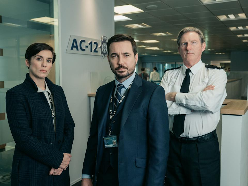 Line Of Duty stars Vicky McClure, Martin Compston and Adrian Dunbar (Photo: BBC)