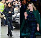 <p>For her debut in Edinburgh, Meghan Markle wore an appropriate tartan plaid jacket made by Burberry. The entire look, from head to toe, was similar to one that Emily Blunt sported for an appearance in New York City.</p>