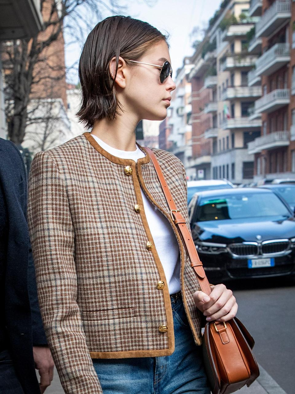 The jewel neckline blazer and Celine bag give this look the ultimate Parisienne touch.