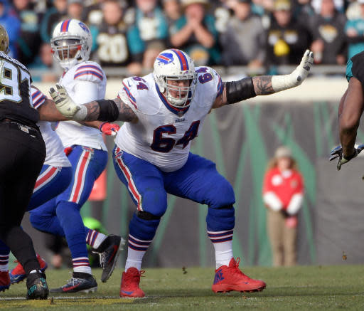 FILE - In this Jan. 7, 2018, file photo, Buffalo Bills offensive guard Richie Incognito (64) sets up to block against the Jacksonville Jaguars defensive during the second half of an NFL wild-card playoff football game in Jacksonville, Fla. Incognito is free to resume his career after the Bills released him from their reserve/retired list on Monday, May 21, 2018. (AP Photo/Phelan M. Ebenhack, File)
