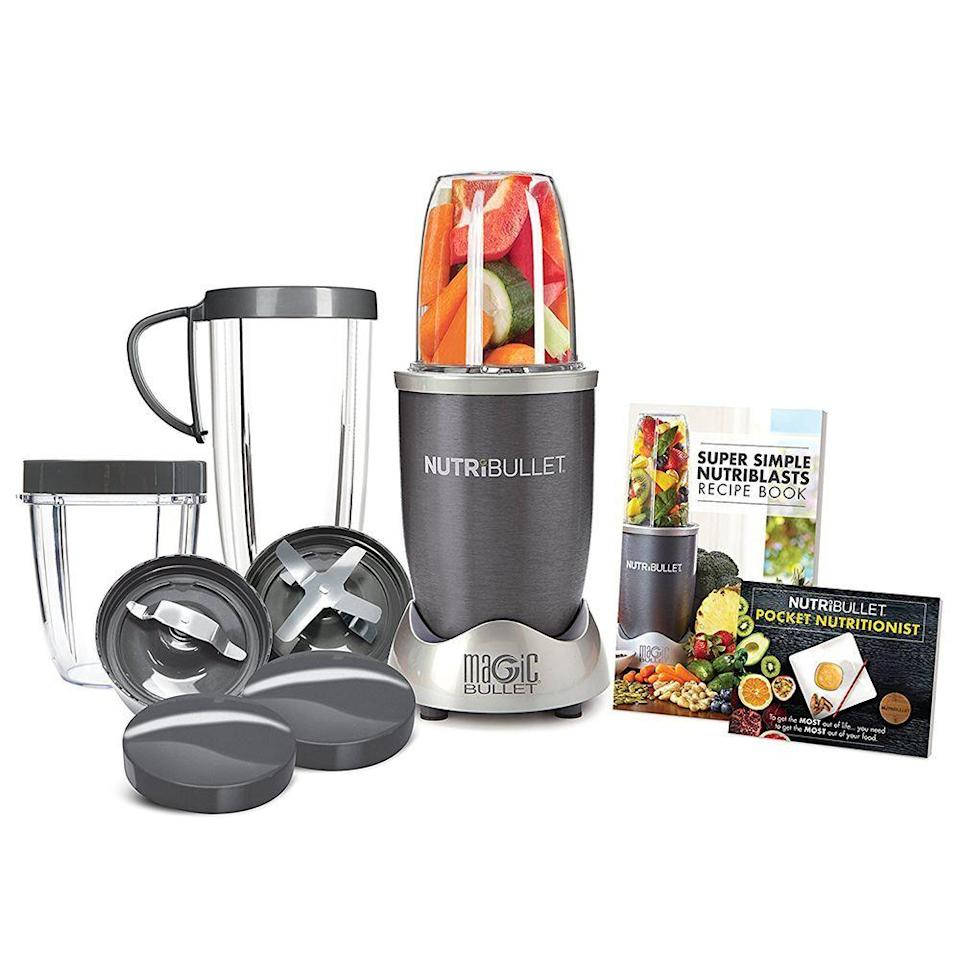 """<p><strong>NutriBullet</strong></p><p>amazon.com</p><p><strong>$99.87</strong></p><p><a href=""""https://www.amazon.com/dp/B007TIE0GQ?tag=syn-yahoo-20&ascsubtag=%5Bartid%7C2089.g.27965170%5Bsrc%7Cyahoo-us"""" rel=""""nofollow noopener"""" target=""""_blank"""" data-ylk=""""slk:Shop Now"""" class=""""link rapid-noclick-resp"""">Shop Now</a></p><p>Make morning smoothie prep and small-batch blending faster and easier than ever before with the NutriBullet. This versatile 12-piece set makes quick work of blending, and it includes two types of blades, three personal-sized cups, matching to-go lids, and helpful recipe booklets.</p>"""