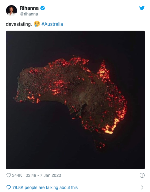 Pictured: Fake Australia bushfires map shared by Rihanna.