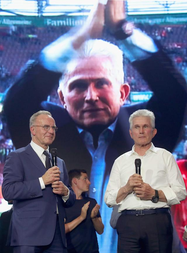 Bayern Munich's CEO Karl-Heinz Rummenigge and coach Jupp Heynckes celebrate winning the Bundesliga trophy at the Nockherberg beer garden in Munich, Germany, May 12, 2018. Picture taken May 12, 2018. Alexander Hassenstein/Pool via Reuters