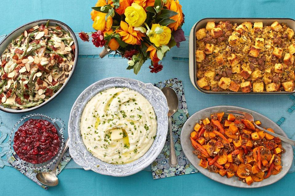 "<p>You might think that Ree Drummond's favorite part about the <a href=""https://www.thepioneerwoman.com/food-cooking/meals-menus/g33577310/thanksgiving-menu/"" rel=""nofollow noopener"" target=""_blank"" data-ylk=""slk:Thanksgiving menu"" class=""link rapid-noclick-resp"">Thanksgiving menu</a> would be the main attraction itself: the beautifully basted bird. Spoiler alert: It's not! The Pioneer Woman actually likes all the delicious Thanksgiving side dishes way more than the turkey. ""Sometimes I even forget to put the turkey on my plate,"" she says. ""True story."" It's easy to agree. When it comes to the menu, serving turkey is the main <a href=""https://www.thepioneerwoman.com/holidays-celebrations/g32447013/thanksgiving-traditions/"" rel=""nofollow noopener"" target=""_blank"" data-ylk=""slk:Thanksgiving tradition"" class=""link rapid-noclick-resp"">Thanksgiving tradition</a>, but it's <em>really</em> all about the glorious sides. With so many mouthwatering options, how the heck can you choose which dishes to make? Mashed potatoes, green bean casserole, sweet potato casserole, cranberry sauce: Yes, yes, yes, and oh right, <em>yes</em>.</p><p>To fix this delicious problem, we've rounded up some of the best sides to place on your <a href=""https://www.thepioneerwoman.com/holidays-celebrations/g32450241/thanksgiving-table-setting/"" rel=""nofollow noopener"" target=""_blank"" data-ylk=""slk:Thanksgiving table"" class=""link rapid-noclick-resp"">Thanksgiving table</a> that are both classic and inventive. There are tons of varieties to choose from so you can find the ones that'll work best for your gathering. For instance, a <a href=""https://www.thepioneerwoman.com/food-cooking/meals-menus/g33834710/southern-thanksgiving-menu/"" rel=""nofollow noopener"" target=""_blank"" data-ylk=""slk:Southern Thanksgiving menu"" class=""link rapid-noclick-resp"">Southern Thanksgiving menu</a> calls for the works: Cornbread and bacon dressing, corn pudding, and easy drop biscuits will do. Or, get creative in the kitchen with recipes like wild rice and prosciutto stuffing, crispy Hasselback potatoes, and French onion mashed potatoes. If you weren't hungry before reading about these lip-smacking-good Thanksgiving sides, you will be when you're done! (Don't forget to select your <a href=""https://www.thepioneerwoman.com/food-cooking/meals-menus/g32433586/best-thanksgiving-wine/"" rel=""nofollow noopener"" target=""_blank"" data-ylk=""slk:Thanksgiving wine"" class=""link rapid-noclick-resp"">Thanksgiving wine</a> too.)</p>"