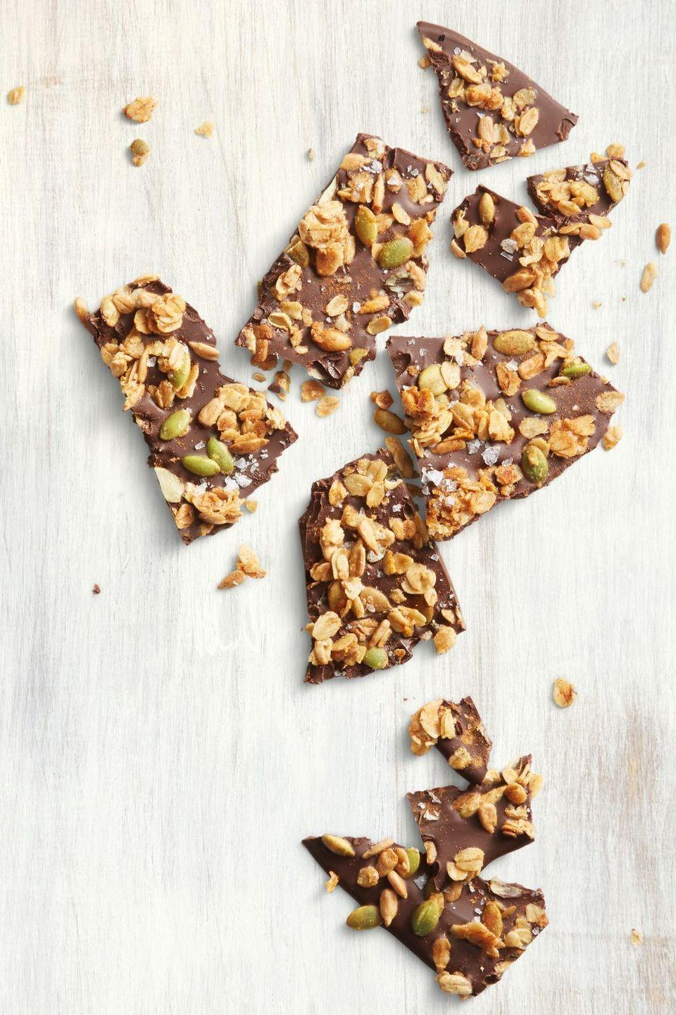 "<p>Since homemade granola is the star of this no-bake treat, you can serve it up for dessert or breakfast or both. Your call.</p><p><em><em><a href=""https://www.goodhousekeeping.com/food-recipes/dessert/a22750665/aztec-chocolate-granola-bark-recipe/"" rel=""nofollow noopener"" target=""_blank"" data-ylk=""slk:Get the recipe for Aztec-Chocolate Granola Bark »"" class=""link rapid-noclick-resp"">Get the recipe for Aztec-Chocolate Granola Bark »</a><br></em></em></p>"