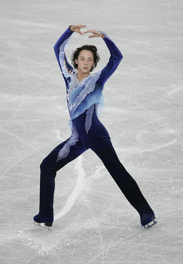 Performingduring the men's qualifying free skate at the ISU World Figure Skating Championships at the Luzhniki Sports Palace on March 14, 2005, in Moscow.