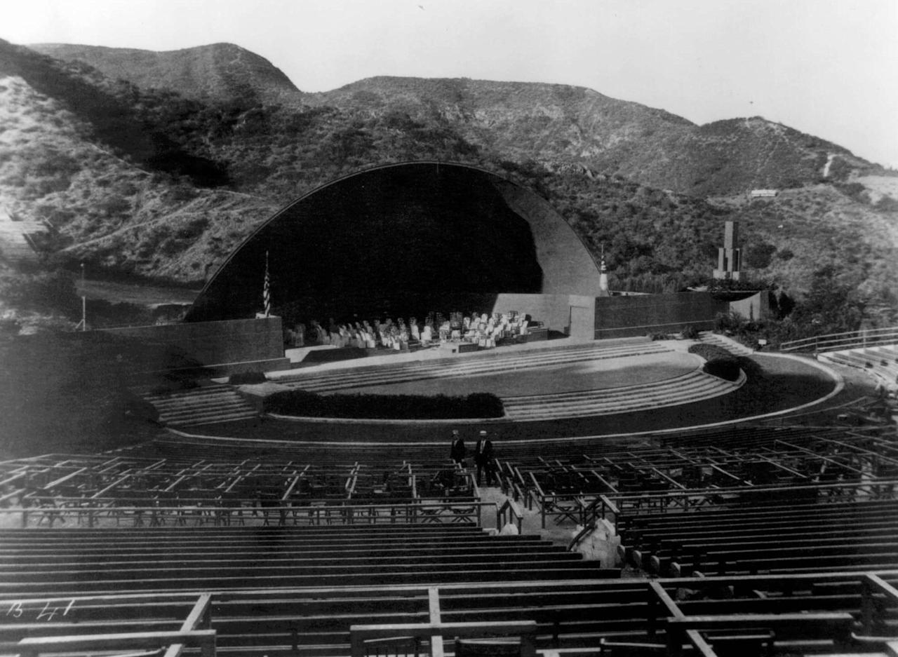 This is a 1928 photo of the Hollywood Bowl in Los Angeles. The Hollywood Bowl started with wooden benches scattered on the hillsides of Bolton Canyon and is now one of the world's largest amphitheaters.<br><br>(AP Photo/ho)