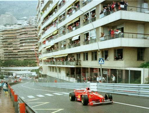 Just three laps after the start of the Monaco F1 Grand Prix, Michael Schumacher of Germany in Ferrari is already hundreds of meters ahead of other drivers Sunday May 11, 1997 during the Monaco F1 Grand Prix. (AP Photo/Gilles Collignon)