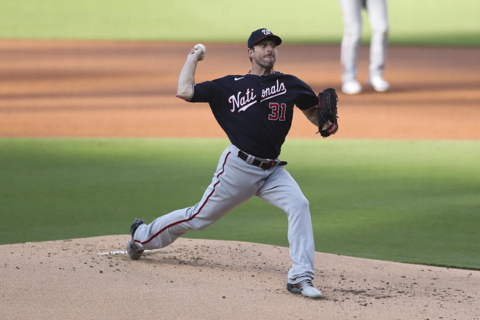 Washington Nationals starting pitcher Max Scherzer works in the first inning of a baseball game against the San Diego Padres Thursday, July 8, 2021, in San Diego. (AP Photo/Derrick Tuskan)
