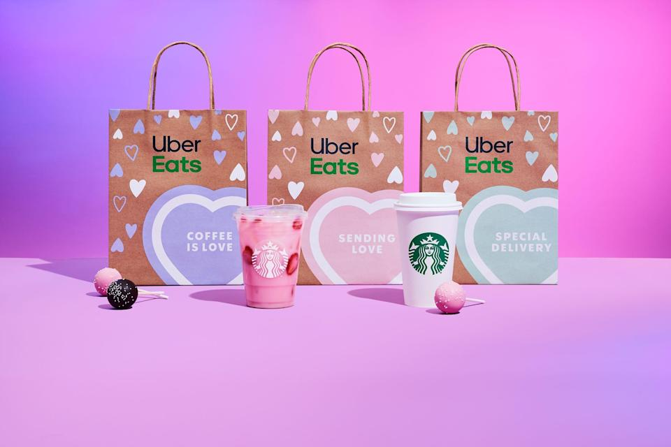Starbucks has a Valentine's Day deal with Uber Eats.