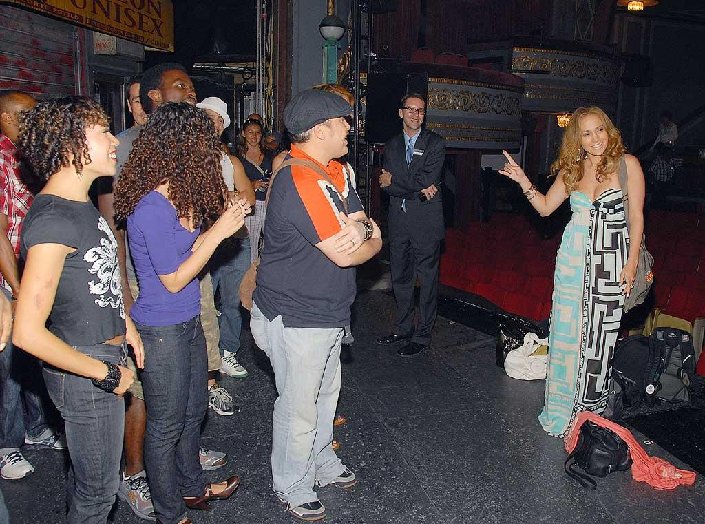 """Jennifer Lopez celebrated her 39th birthday by catching a performance of """"In The Heights."""" The cast of the Broadway musical sang """"Happy Birthday"""" to the new mom, who managed to sneak away from her twins for one night. Theo Wargo/<a href=""""http://www.wireimage.com"""" target=""""new"""">WireImage.com</a> - July 24, 2008"""