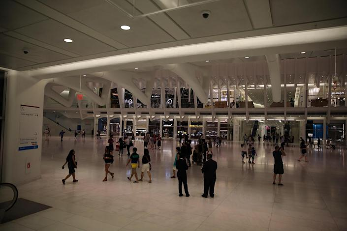 "<p>People walk through the Oculus mall at World Trade Center on Wednesday, August 17, 2016. The location is a ""symbol of hope, opportunity, progress and perseverance,"" said Bill Hecht, chief operating officer of Westfield Corp.'s U.S. division. (Gordon Donovan/Yahoo News) </p>"
