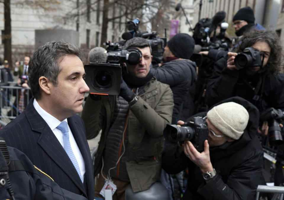 Michael Cohen walks from federal court in New York on Dec. 12, 2018, after being sentenced following a guilty plea for lying to Congress, campaign finance violations and other crimes. (Photo: Craig Ruttle/AP)