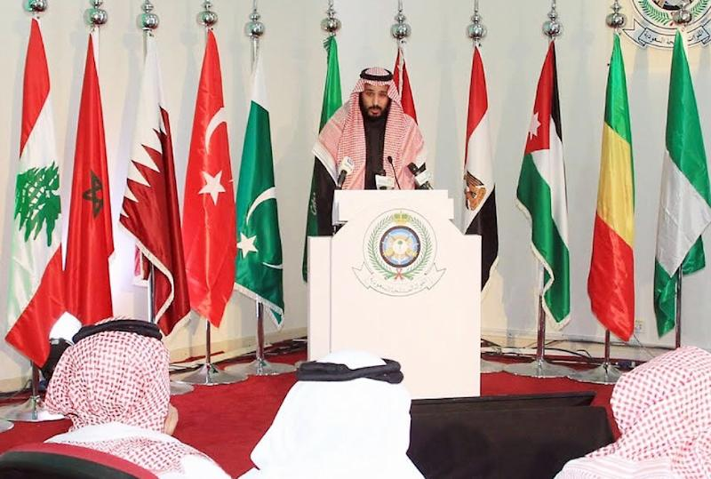 A picture provided by the Saudi Press Agency on December 15, 2015, shows Saudi Defence Minister and Deputy Crown Prince Mohammed bin Salman holding a press conference on December 14, 2015, at King Salman airbase in Riyadh (AFP Photo/)