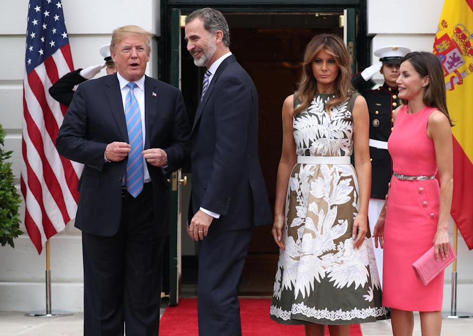 """President and Melania Trump are spending time with <span class=""""s2"""">King Felipe VI and Queen Letizia at the White House. </span>(Photo: Reuters/Jonathan Ernst)"""
