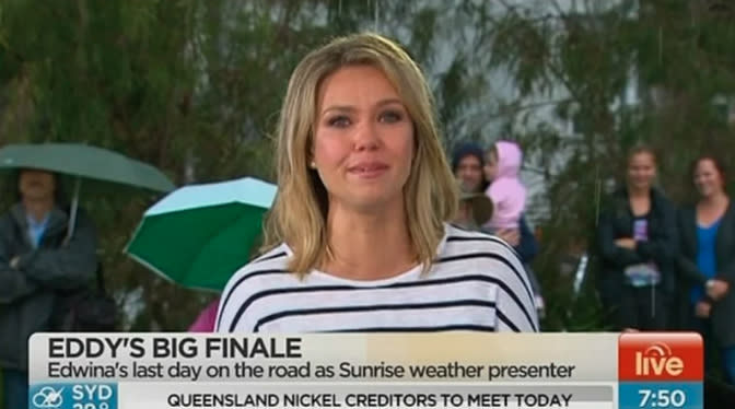 Edwina Barhtolomew presents on Channel Seven's Sunrise and Twitter debacle escalates