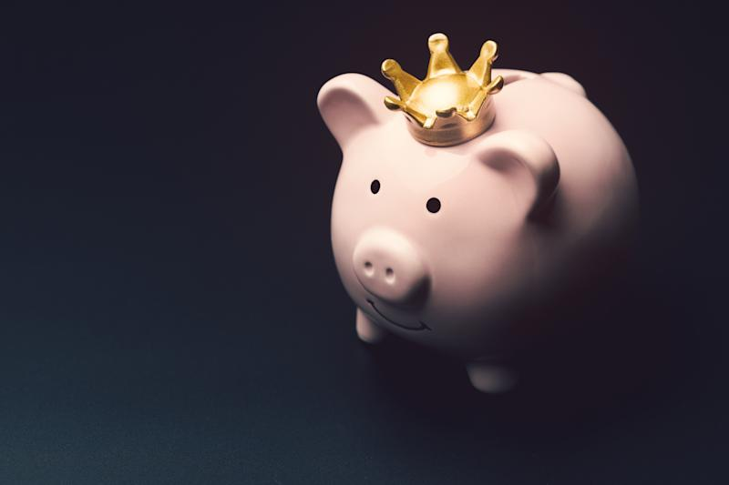 Piggy bank with a crown