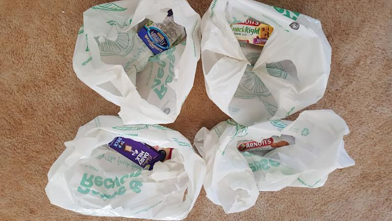 Packets of biscuits and chocolates were delivered in bags of their own.