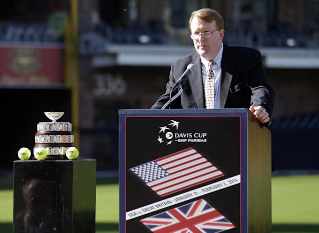 Jeff Ryan, the U.S. Tennis Association's team events director, speaks during a Davis Cup announcement Tuesday, Nov. 5, 2013, in San Diego. Ryan announced plans to play the first-round Davis Cup match between Britain and the United States in January of 2014 in a venue to be build inside the San Diego Padres' PETCO Park baseball stadium in San Diego. (AP Photo/Gregory Bull)