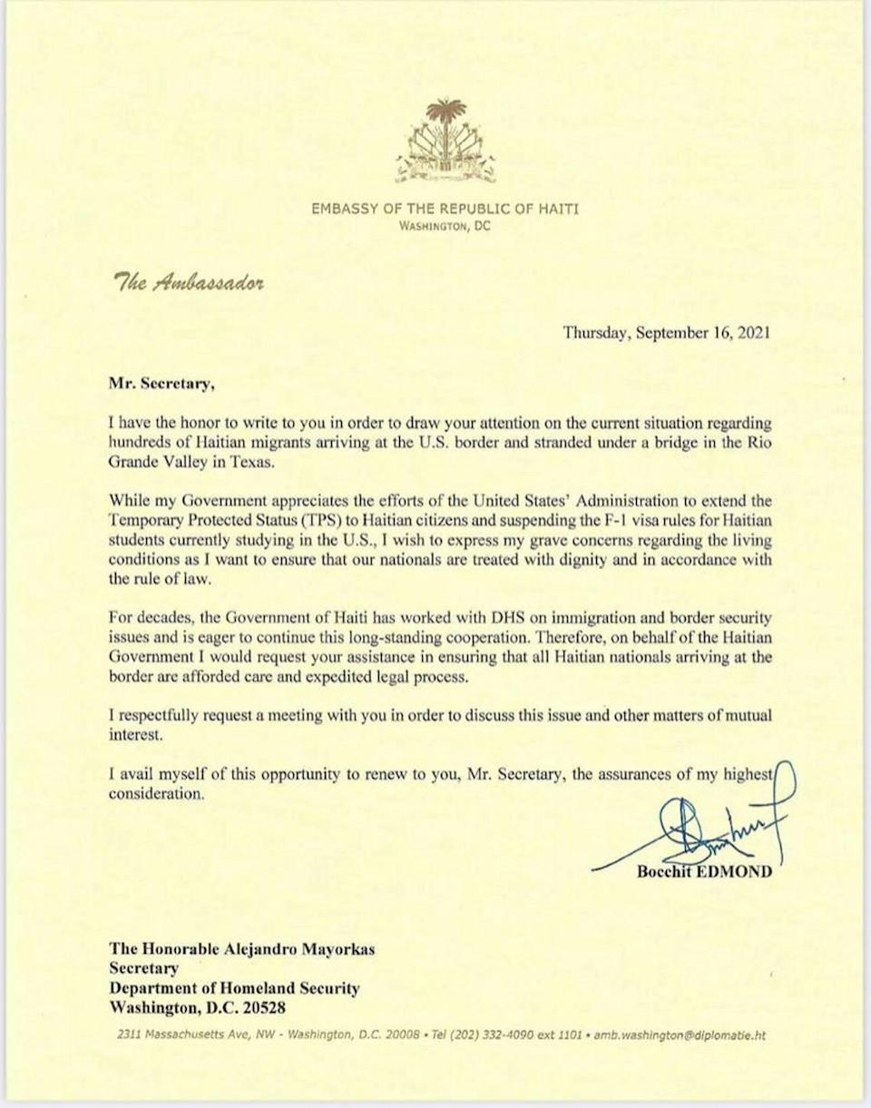 Haiti Ambassador to the U.S. Bocchit Edmond's letter to Department of Homeland Security Alejandro Mayorkas asking that Haitian nationals at the southwest border be treated with dignity and in accordance with the rule of law.