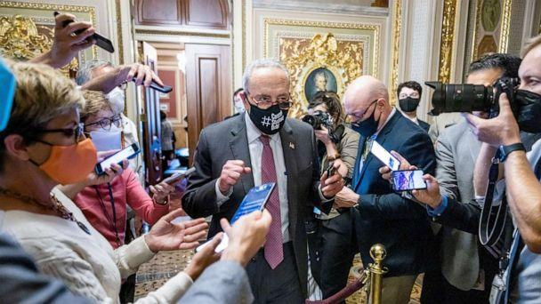 PHOTO: Democratic Senate Majority Leader Chuck Schumer leaves a meeting with other Democrats about raising the debt limit in Washington, Oct. 6, 2021. (Jim Lo Scalzo/EPA-EFE/Shutterstock)