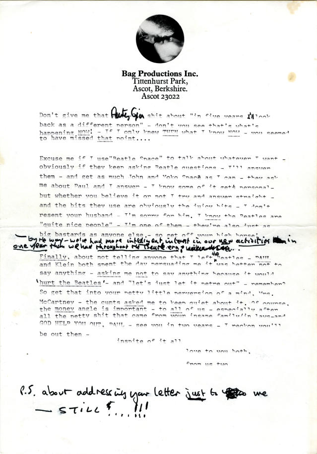 In this undated photo provided by Profile in History, the second page of a typed draft letter from John Lennon to Linda and Paul McCartney, that reflects the deep animosity between the two Beatles around the time of the foursome's breakup is shown. The letter is among a collection of historical documents to be sold at an online auction by Profiles in History on Wednesday, May 8, 2013. (AP Photo/Profiles in History)