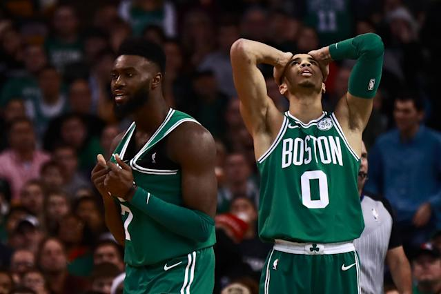 Things didn't go they way Jayson Tatum, left, and Jaylen Brown had planned on Monday. (Getty Images)