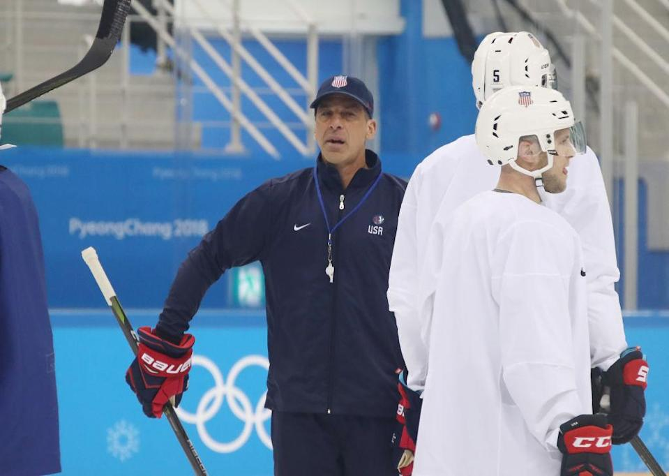 Chris Chelios is serving as an assistant coach for the U.S. men's Olympic hockey team. (Getty)