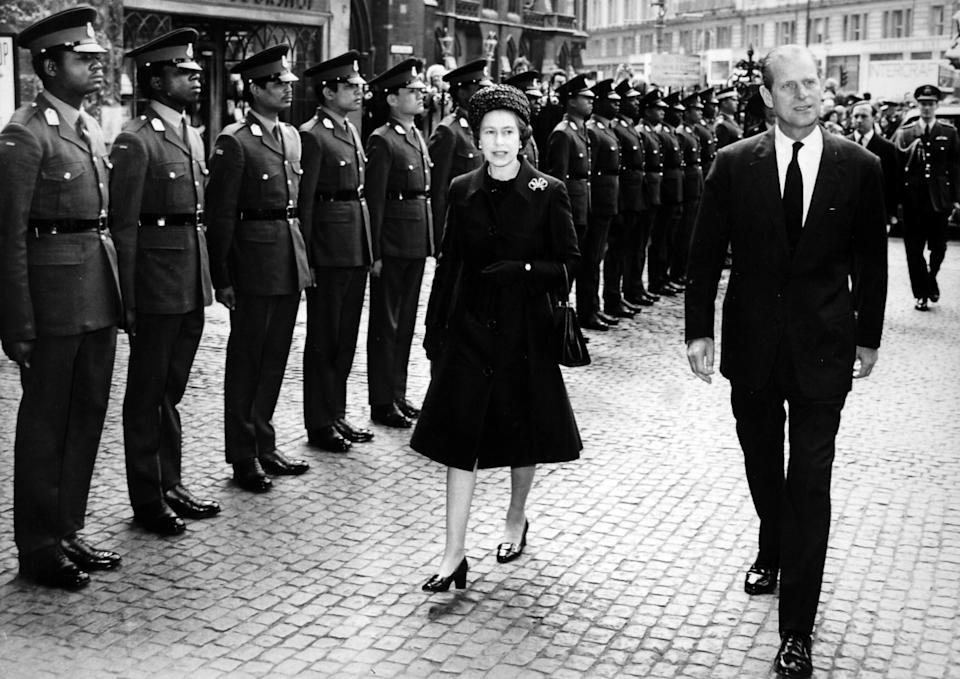*Scanned low-res from print, high-res available on request* Queen Elizabeth II and the Duke of Edinburgh inspecting cadets from eleven Commonwealth countries who formed a guard of honour as they arrived at the Commonwealth Day Observance Service at Westminster Abbey.   (Photo by PA Images via Getty Images)
